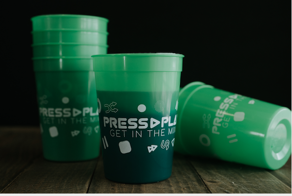 Green Cups with words Press Play